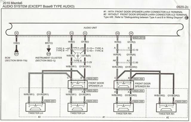speaker diagram for non bose setup mazda 6 forums. Black Bedroom Furniture Sets. Home Design Ideas